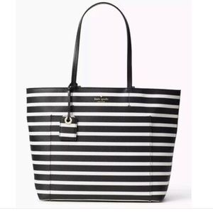 NWT Am Kaye Spade Black and White stripe Tote